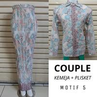 Set Batik Couple Kemeja Lengan Panjang Dan Rok Plisket Bawahan Kebaya