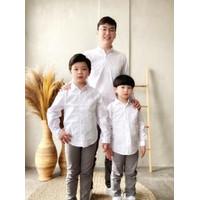 Kemeja Polos Anak Laki Pria Lengan Panjang Warna Putih KARL&EARL