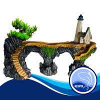 Hiasan Aquarium Aquascape Jembatan Menara Mercusuar Pantai SizeL 3030