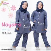 NYR 10 Baju Muslim Setelan Kulot Denim Anak Labella Nayara Navy ID