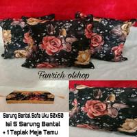 Sarung Bantal Sofa/Kursi Uku 50x50 Shabby Chic Mewah Bunga