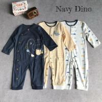 Baby Sleepsuit Set 3 in 1 (Buka Kaki) Motif Navy Dino