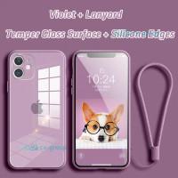 CASING SOFT CASE LANYARD SILICONE GLASS APPLE IPHONE 12 MINI PRO MAX - Black, Ip 12