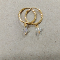 anting anak ring plintiran bandul kristal putih 1/2 gram emas muda