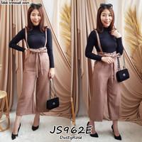 overall jumpsuit celana panjang kulot motif kotak baju kodok wanita