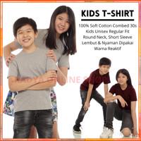 Kaos Polos Anak Lengan Pendek Cotton Combed 30s Unisex 2-13 Tahun - 2 tahun