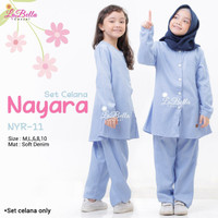 NYR 11 Baju Muslim Setelan Kulot Denim Anak Labella Nayara Baby BlueID