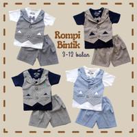 Baju Setelan Pesta Anak Bayi Cowok Laki Rompi Katun Bintik Dasi Kupu