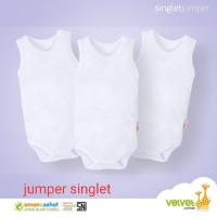 Velvet Junior Singlet Jumper Putih 6pcs size SML Baju Bayi Piyama Bayi
