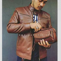 jaket kulit pria asli / jaket kulitt domba asli warna coklat muda DG-9