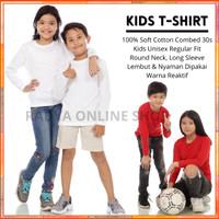 Kaos Polos Anak Lengan Panjang Cotton Combed 30s Unisex 2-13 Tahun - 2 tahun