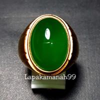 Cincin Batu Natural Green Chalcedony - Kristal Body Glass Bergiwang