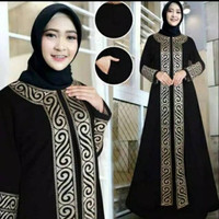 Abaya Turkey Hitam Arab Dubai Baju Gamis Wanita Turki Bordir Modern