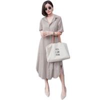 Bunga Kemeja Tunik Mini Midi dress katun wanita import korea murah