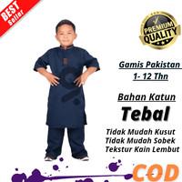 Baju Koko Anak Laki Laki Muslim Murah Terbaru 2020 Bahan Katun Nyaman - navy, 1-2 th