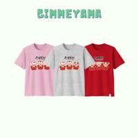 Baju Kaos Imlek OX TRIO GONG XIE Tahun Baru Dewasa Big Size Katun - Merah, S