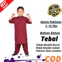 Baju Koko Anak Laki Laki Muslim Model Terbaru Bahan Katun Nyaman - maroon, 1-2 th