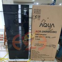 Aqua Aqr290Rbg Kulkas 2 Pintu Bottom Freezer 260L Inverter Black Glass