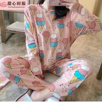 HF Baju Tidur Wanita Setelan Lengan Panjang Piyama