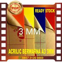 ACRYLIC LEMBARAN BERWARNA A3 3MM - Hitam
