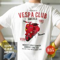 Kaos Pria Vespa Piaggio Scooter CLub America Distro Retro Vintage - L