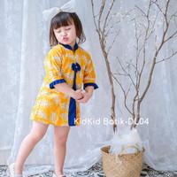 Dress Batik Anak Perempuan Tunik Anak Cewek Kuning Baju 1-11 tahun