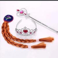 tongkat frozen elsa bando mahkota anak perempuan - Anna pink