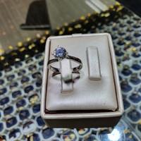 cincin soliter emas putih mata satu