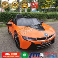 Mainan Mobil aki remot control BMW i8 Coupe License Ban Karet