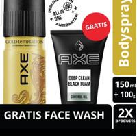 Axe Deo Bodyspray Gold Temptation 150Ml Free Deep Clean Foam 100G