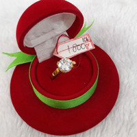 CP1527F168F cincin emas asli permata kristal putih diamond kadar 700
