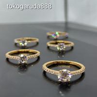 Cincin emas asli solitaire seperti berlian kadar 700 70% 18k 22 zircon