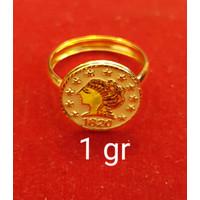 cincin emas asli model koin uang pawon kadar 700 70% 18k 22 2gram 10