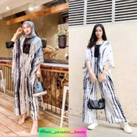 Setelan Cardigan Rumbai & Celana Kulot Tie Dye all size fit to XXL