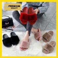 [PREMIUM] SANDAL WANITA SELOP BULU Premium Sandal Rumah Bulu Polos - Merah, 37