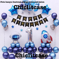 Set paket dekorasi ulang tahun anak astronot roket simpel birthday - Angka 1