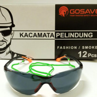 Kacamata Safety Glasses Fashion Hitam Smoke GOSAVE Motor Gerinda