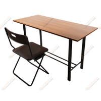Meja belajar tulis kerja kantor kayu besi WFH Minimalis - Hanya Meja