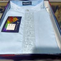 NEW! Fashion Baju Koko wadimor lengan panjang putih size M sampai XL - Biru, M