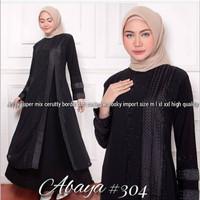 Abaya turkey//abaya arab full hitam bordir bahan jersey #304
