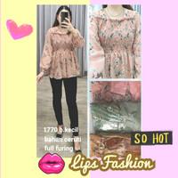 smock flower blouse / baju sabrina motif bunga sifon ceruti murah