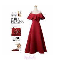 Dress Wanita Midi Long Mishasha Dress Mary Series - Merah, M