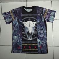 baju kaos second skull full print sapi kerbau tedong babi anjing