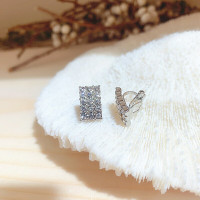 Crystal Clip Earring anting jepit kristal rhinestone persegi bunga