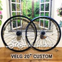 Wheelset Velg Hitam Uk.20 Alloy Depan Belakang Rims Sepeda Roda PerPcs