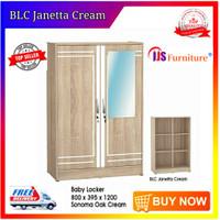 Lemari Pakaian Anak 2 Pintu Cermin BLC Janetta Cream full Rak