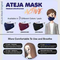 Masker ATEJA Active Premium 3 Ply (with Nose Clip & Earloop Adjuster)