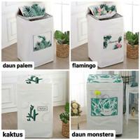 cover sarung mesin cuci bukaan atas - daun palem