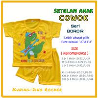 Setelan stelan baju kaos anak laki laki cowok bayi lucu murah 1- 6 thn - KUNING-DINOROCK, S