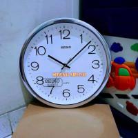Jam Dinding Seiko 3227 Crome Stainless Polos Putih 32cm